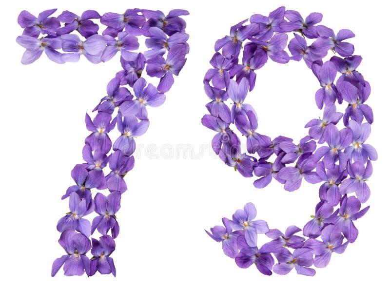 Numeral árabe 79, setenta nove, das flores da viola, isoladas fotografia de stock royalty free