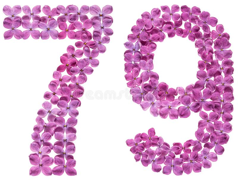 Numeral árabe 79, setenta nove, das flores do lilás, isoladas imagens de stock royalty free