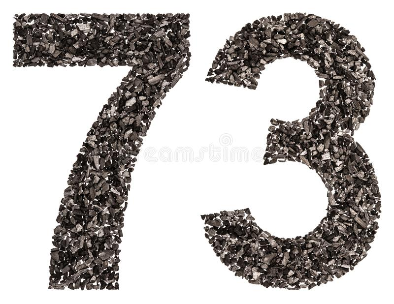 Numeral árabe 73, setenta três, do preto um carvão vegetal natural, foto de stock royalty free