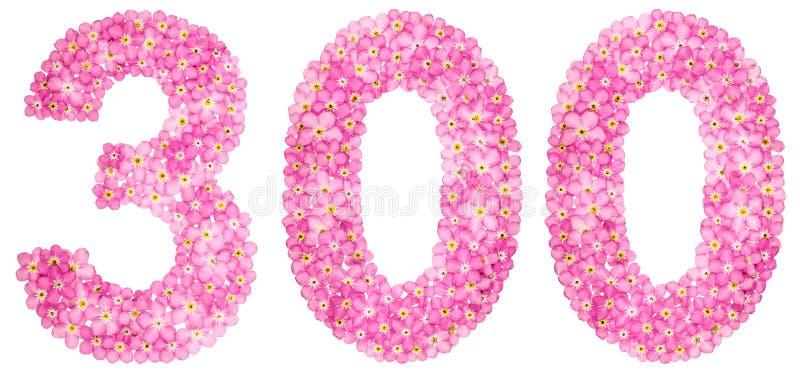 Numeral árabe 300, três cem, do flowe cor-de-rosa do miosótis fotografia de stock