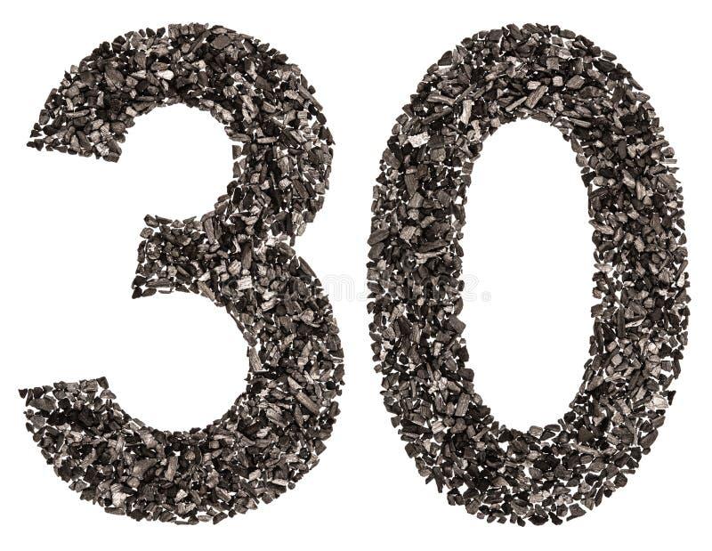 Numeral árabe 30, trinta, do preto um carvão vegetal natural, isolat foto de stock
