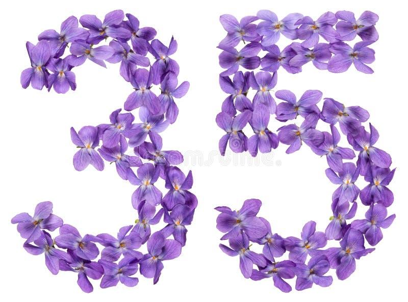 Numeral árabe 35, trinta e cinco, das flores da viola, isoladas imagem de stock