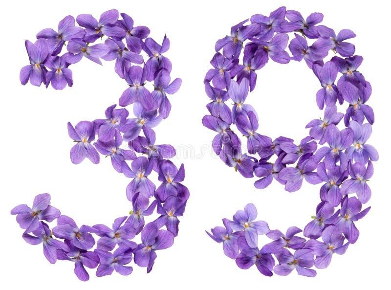 Numeral árabe 39, trinta e nove, das flores da viola, isoladas imagem de stock royalty free