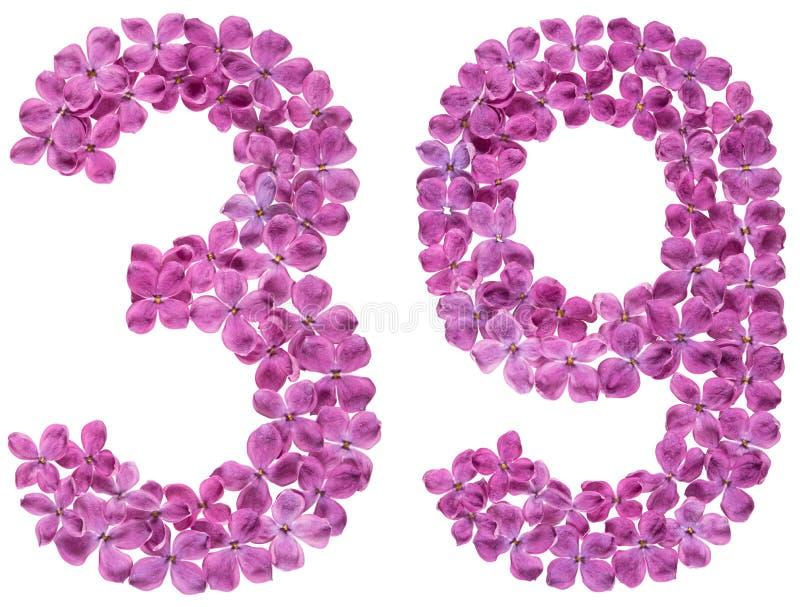 Numeral árabe 39, trinta e nove, das flores do lilás, isoladas fotografia de stock
