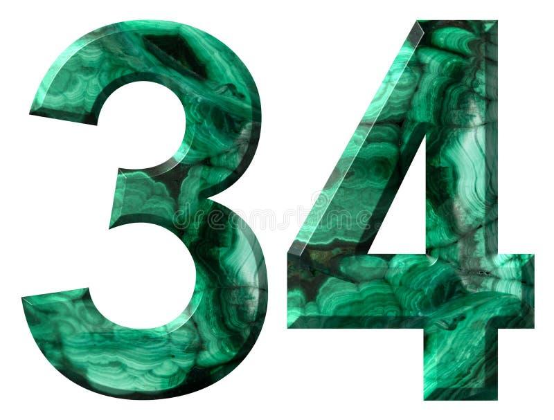Numeral árabe 34, trinta e quatro, da malaquite verde natural, isolada no fundo branco ilustração royalty free