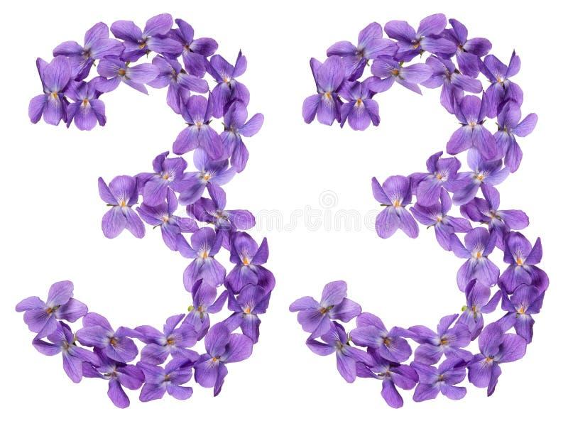 Numeral árabe 33, trinta e três, das flores da viola, isoladas imagens de stock