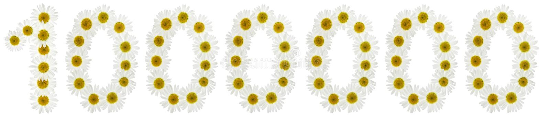Numeral árabe 1000000, um milhão de, das flores brancas do chamo fotografia de stock