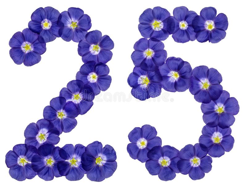 Numeral árabe 25, vinte cinco, das flores azuis do linho, isola fotos de stock