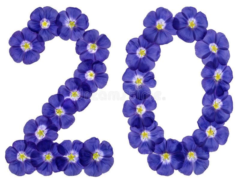 Numeral árabe 20, vinte, dois, das flores azuis do linho, isola imagens de stock
