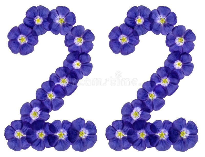 Numeral árabe 22, vinte e dois, das flores azuis do linho, isolat imagens de stock royalty free