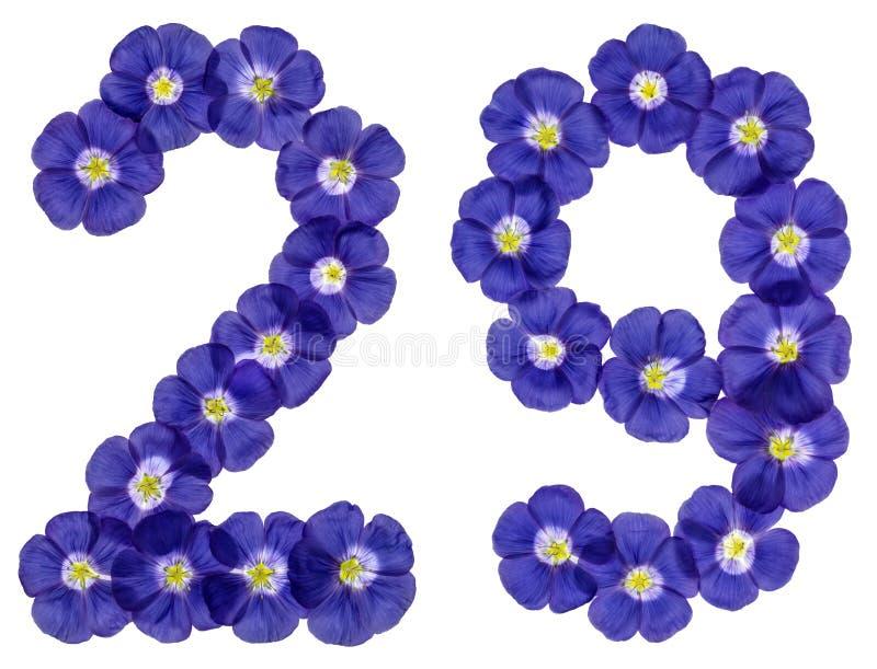 Numeral árabe 29, vinte e nove, das flores azuis do linho, isola imagem de stock