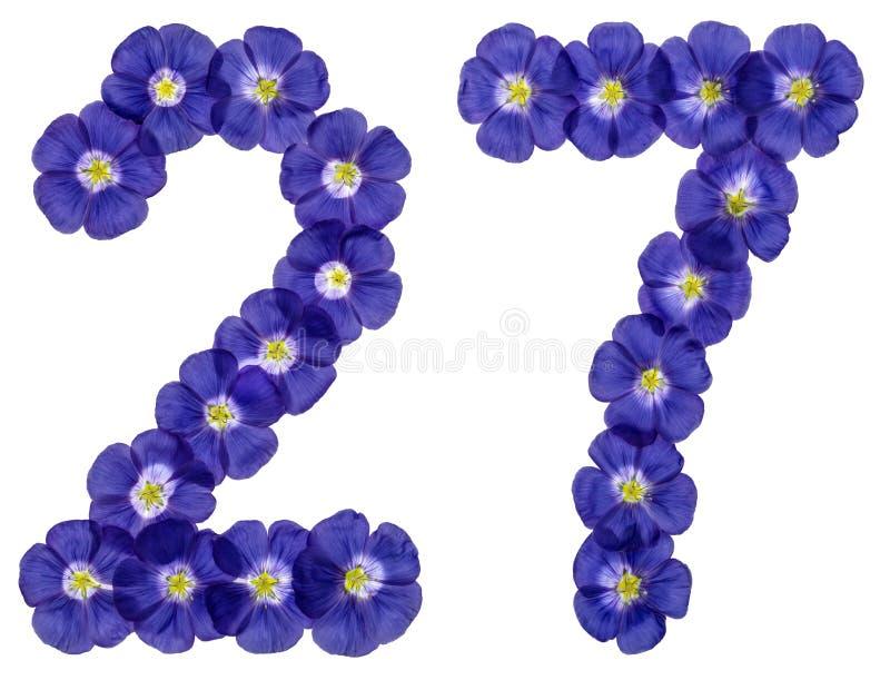 Numeral árabe 27, vinte e sete, das flores azuis do linho, isolador imagem de stock royalty free