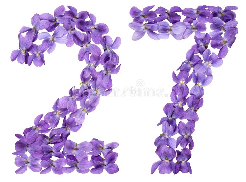 Numeral árabe 27, vinte e sete, das flores da viola, isoladas fotos de stock