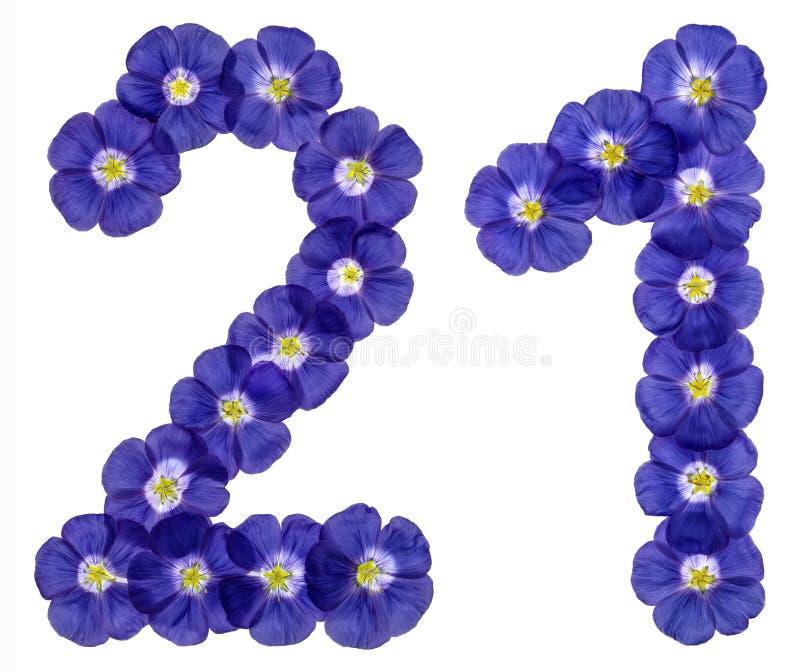 Numeral árabe 21, vinte uns, vinte, das flores azuis do linho fotos de stock