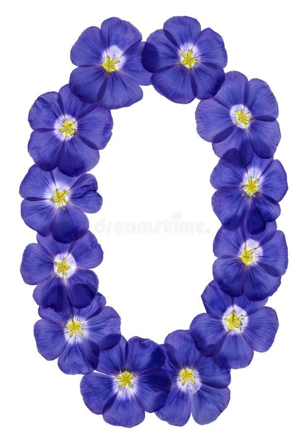Numeral árabe 0, zero, das flores azuis do linho, isoladas em w imagens de stock royalty free