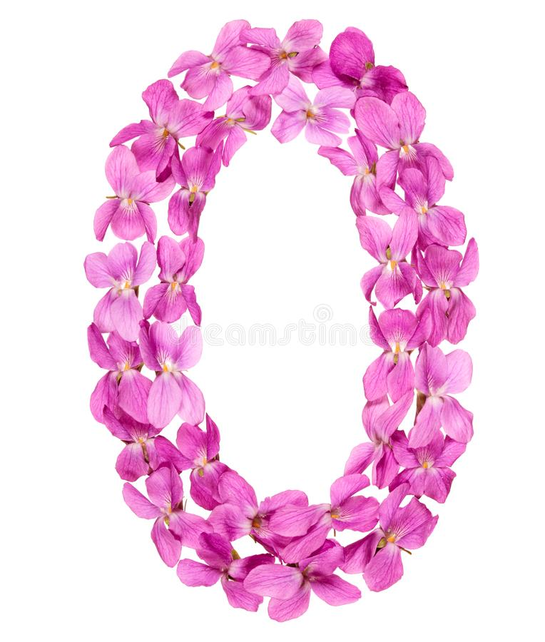 Numeral árabe 0, zero, das flores da viola, isoladas no branco imagens de stock royalty free
