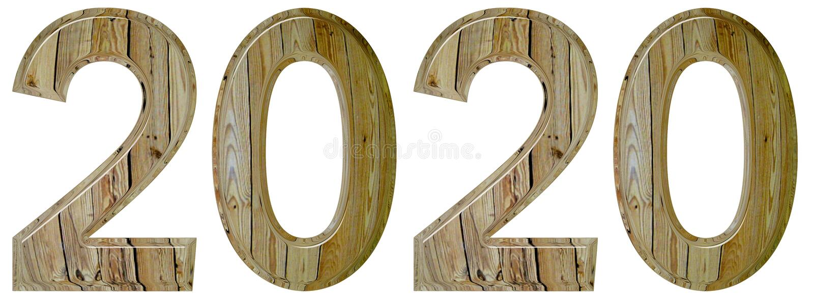 Numeral 2020 with an abstract pattern of a wooden surface, isolated on white background, 3d render royalty free stock images