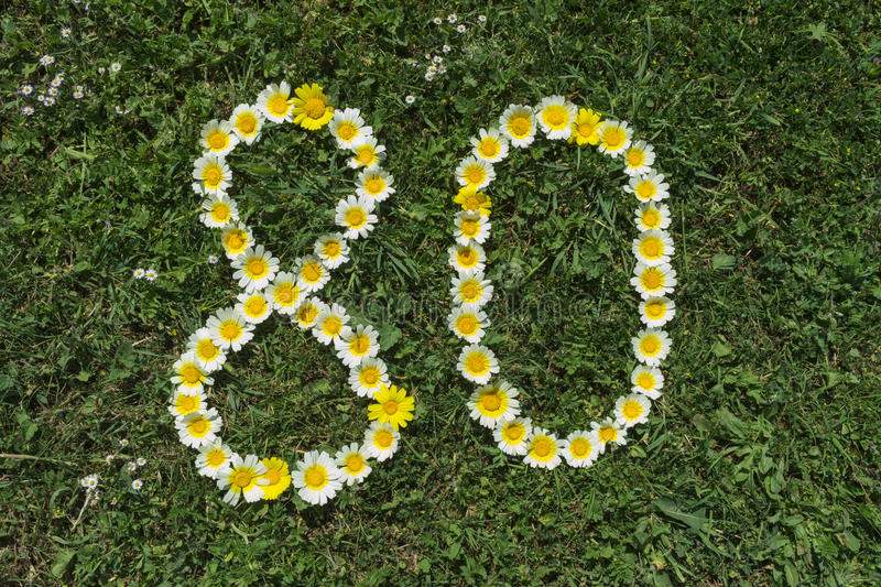 Numeral 80 of blossoms in a meadow royalty free stock photo