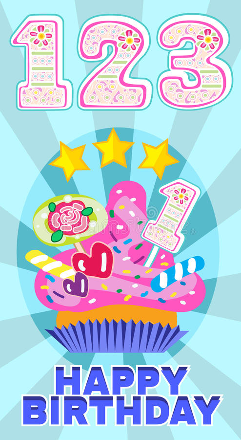 Numeral candles on the cake at the celebration for baby's birthday and sweet cupcake vector set illustration. One, two, three colorful numeral candles on the royalty free illustration
