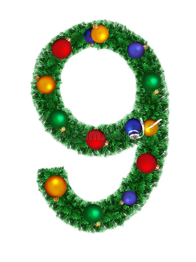 Download Numeral From Christmas Decoration - 9 Stock Photo - Image: 6891266