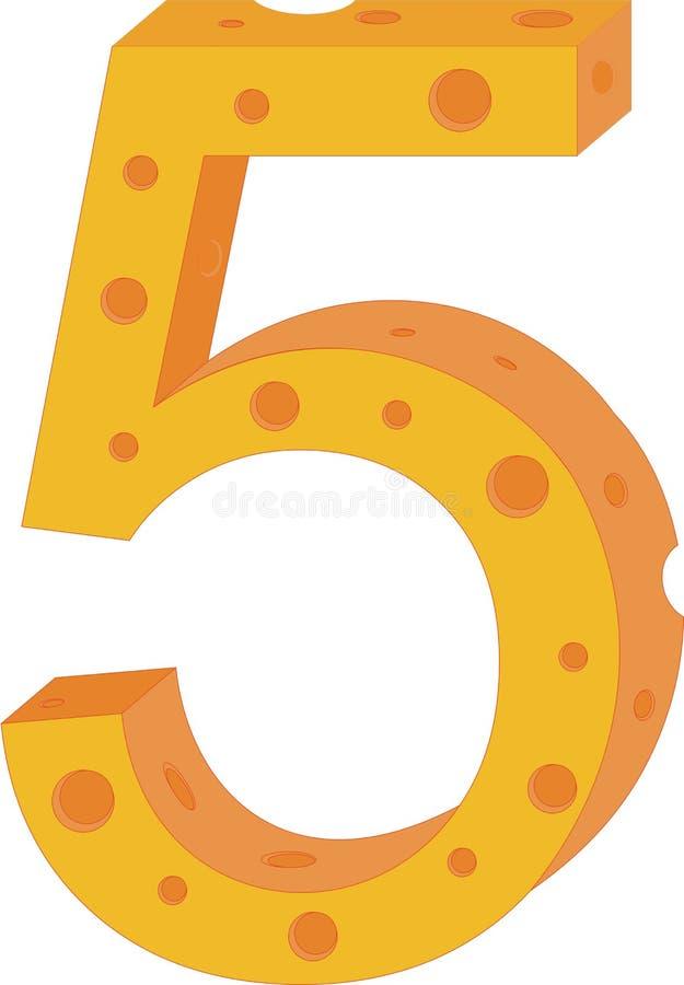 Numeral cinco do queijo do vetor ilustração royalty free