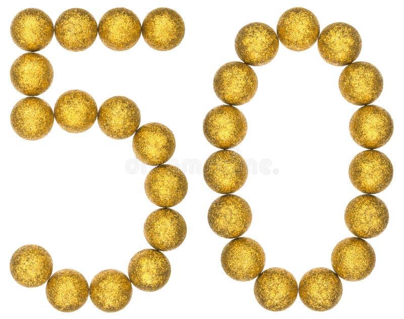 Numeral 50, cinqüênta, das bolas decorativas, isoladas na parte traseira do branco fotografia de stock