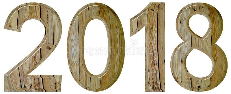 Numeral 2018 com um teste padrão abstrato de uma superfície de madeira, isola fotos de stock