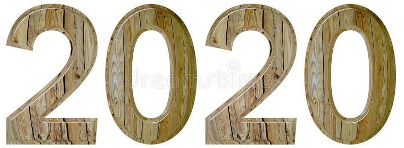 Numeral 2020 com um teste padrão abstrato de uma superfície de madeira, isola imagens de stock royalty free