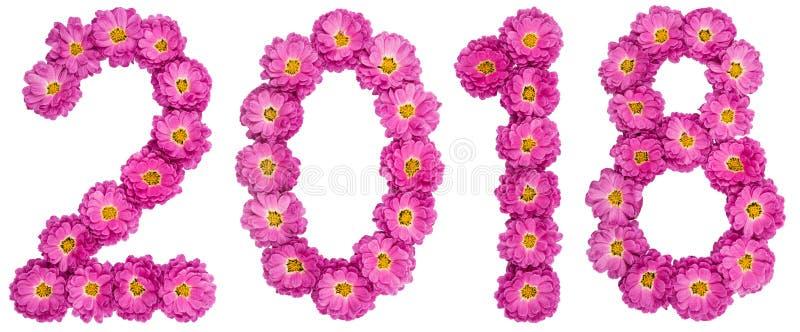 Numeral 2018 da flor do crisântemo, isolada no CCB branco imagens de stock royalty free
