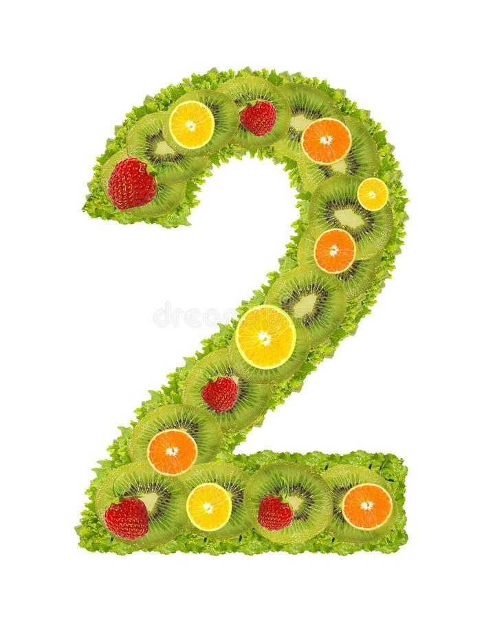 Numeral da fruta - 2 imagem de stock royalty free