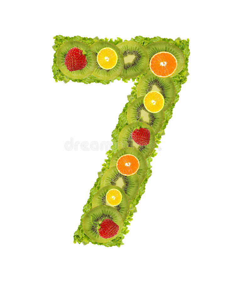 Numeral da fruta - 7 fotos de stock royalty free