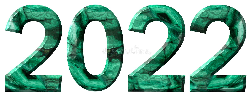 Numeral 2022 da malaquite verde natural, isolada no fundo branco fotos de stock royalty free
