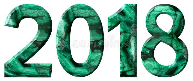 Numeral 2018 da malaquite verde natural, isolada no fundo branco imagem de stock