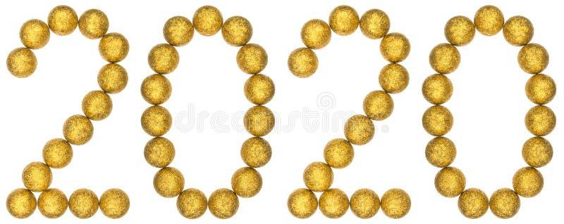 Numeral 2020 das bolas decorativas, isoladas no fundo branco imagem de stock royalty free