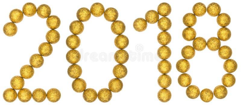 Numeral 2018 das bolas decorativas, isoladas no fundo branco fotos de stock royalty free