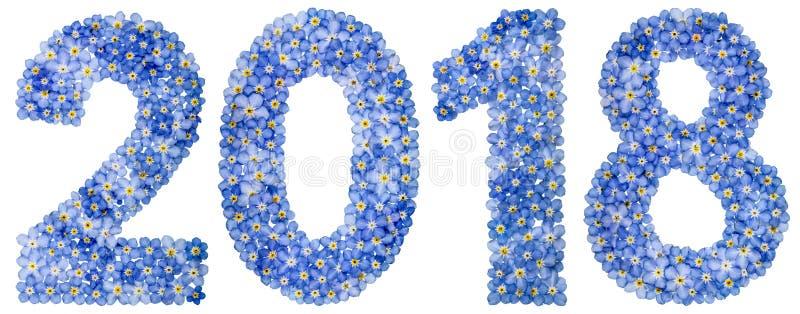 Numeral 2018 das flores azuis do miosótis, isoladas no branco imagens de stock