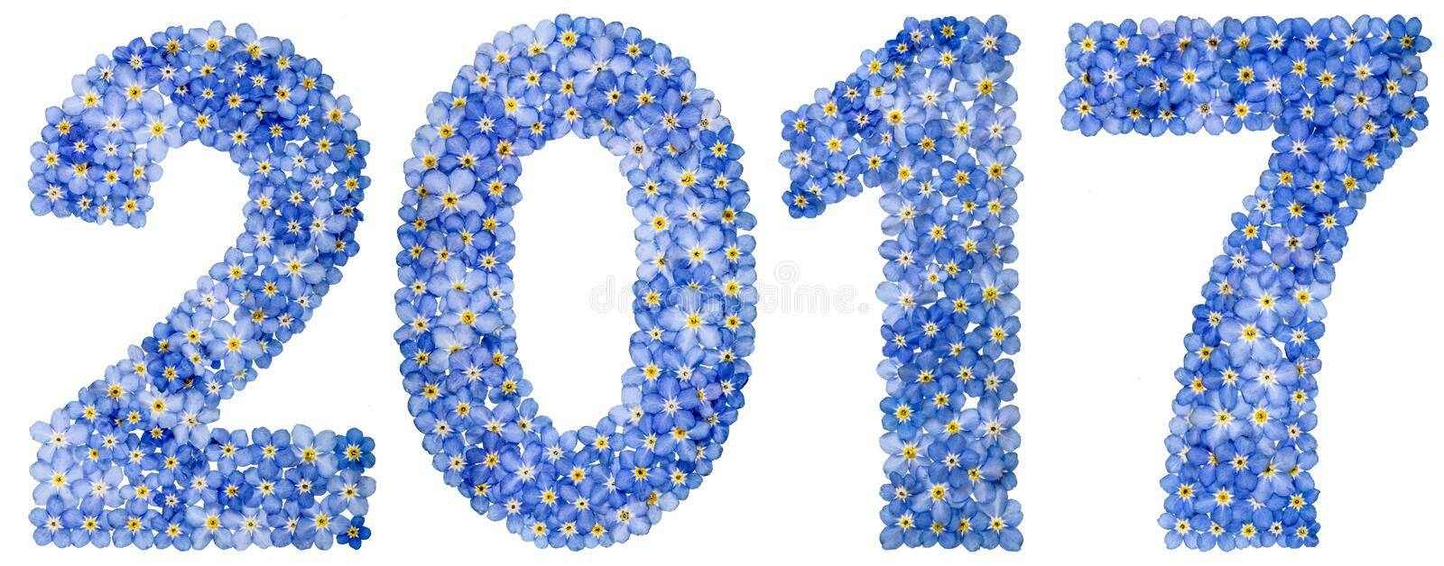 Numeral 2017 das flores azuis do miosótis, isoladas no branco fotos de stock royalty free