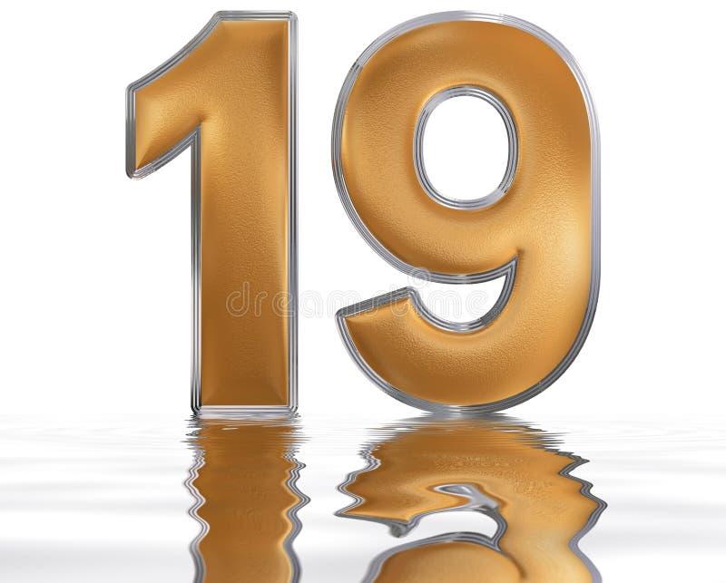 Numeral 19, dezenove, refletido na superfície da água, o ilustração stock