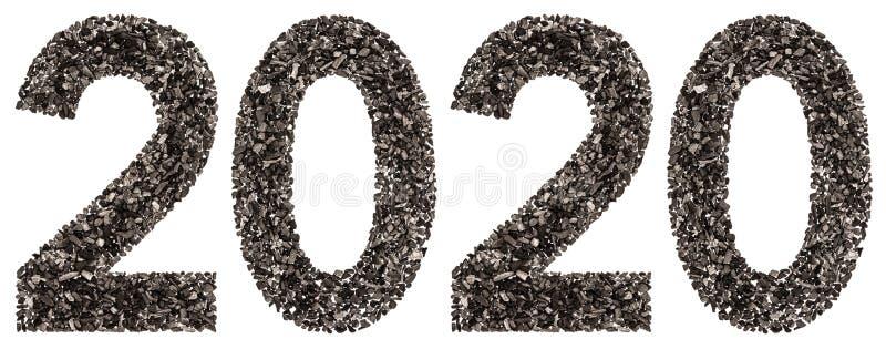 Numeral 2020 do preto um carvão vegetal natural, isolado nos vagabundos brancos fotografia de stock royalty free