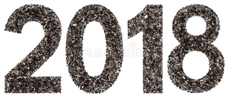 Numeral 2018 do preto um carvão vegetal natural, isolado nos vagabundos brancos fotos de stock royalty free