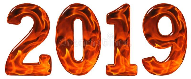 Numeral 2019 do vidro com um teste padrão abstrato de um fi flamejante fotografia de stock