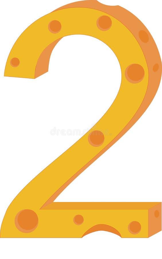 Numeral dois do queijo do vetor ilustração stock
