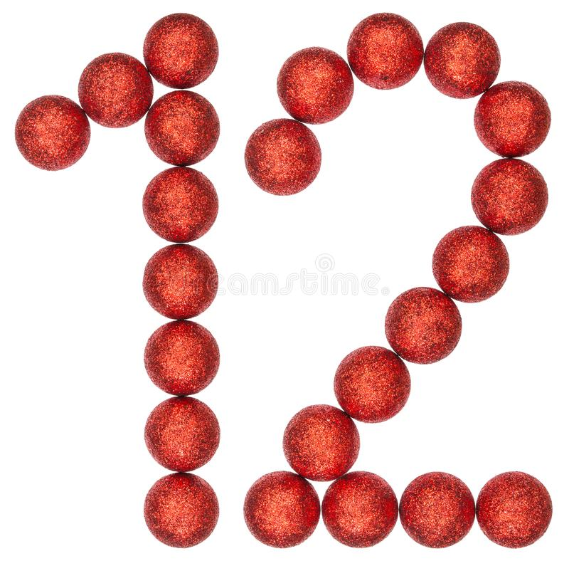 Numeral 12, doze, das bolas decorativas, isoladas no CCB branco fotos de stock