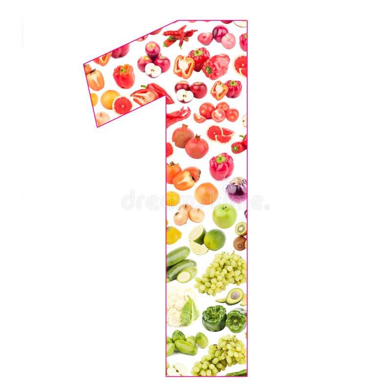 Numeral feito das frutas e legumes, isoladas fotos de stock royalty free