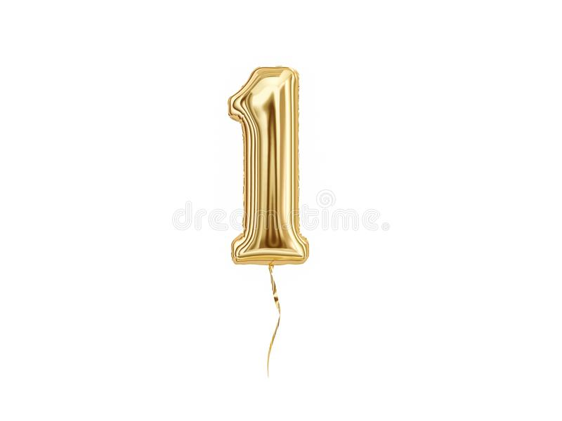 Numeral 1. Foil balloon number One. Isolated on white background stock illustration