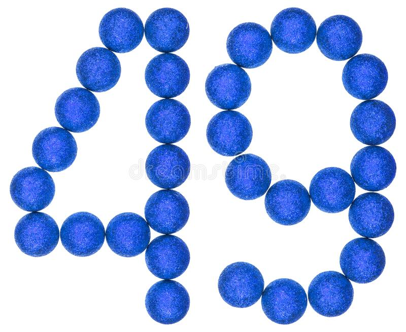 Numeral 49, forty nine, from decorative balls, isolated on white. Background stock photos