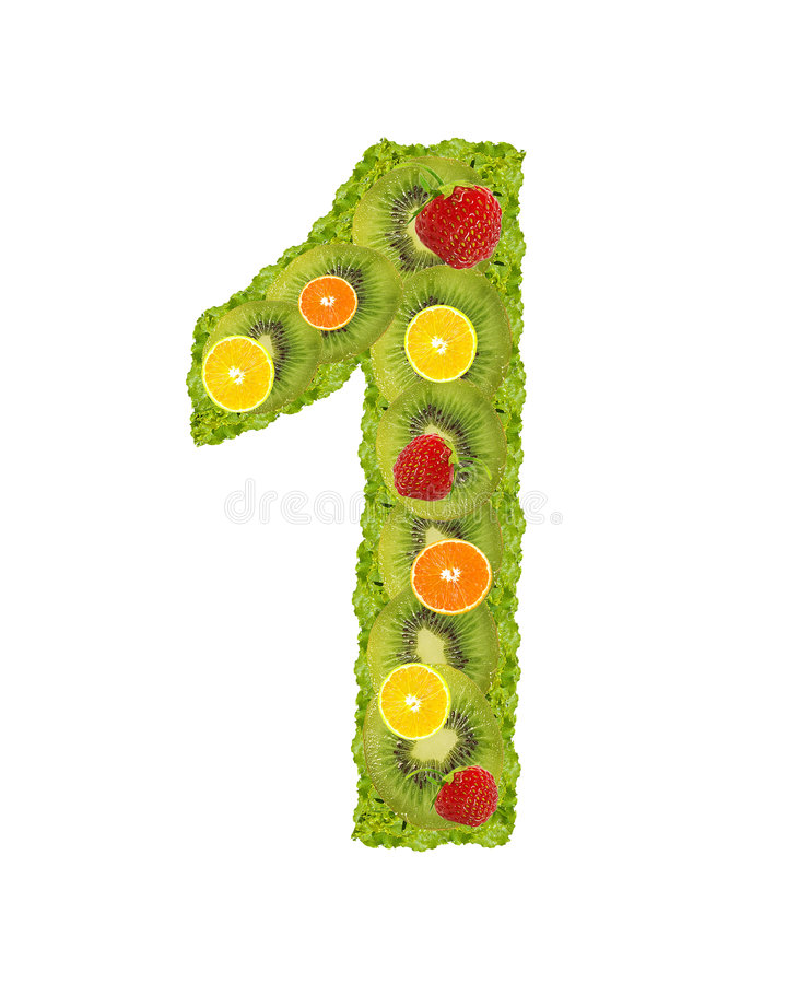 Download Numeral from fruits - 1 stock image. Image of diet, alphabet - 6448405