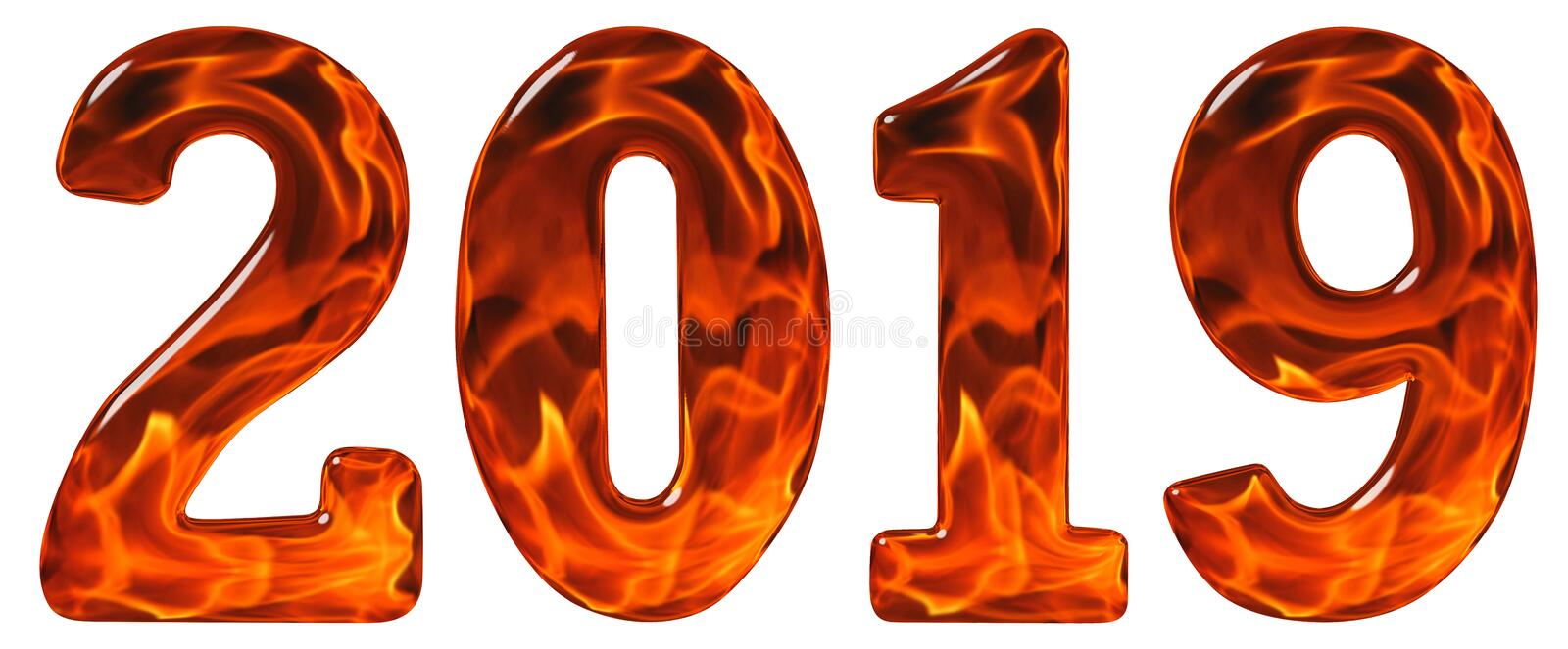 Numeral 2019 from glass with an abstract pattern of a flaming fire, isolated on white background, 3d render stock photography