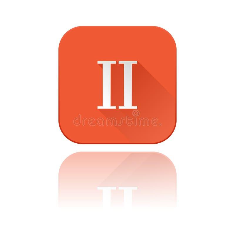 Numeral II romano Ícone quadrado alaranjado com reflexão ilustração stock