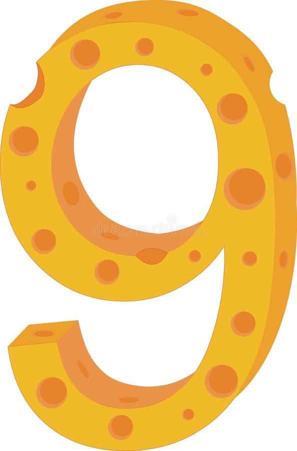 Numeral nove do queijo do vetor ilustração stock